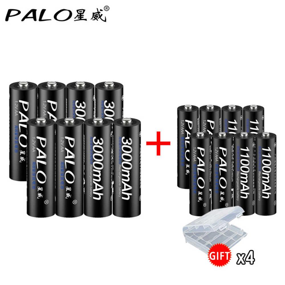 Mới 8 Viên Pin Sạc AA 3000 MAh 1.2V AA + Ni-MH Pin AAA 1100 MAh pin 3A Pin AA Cho Đồ Chơi Công Suất