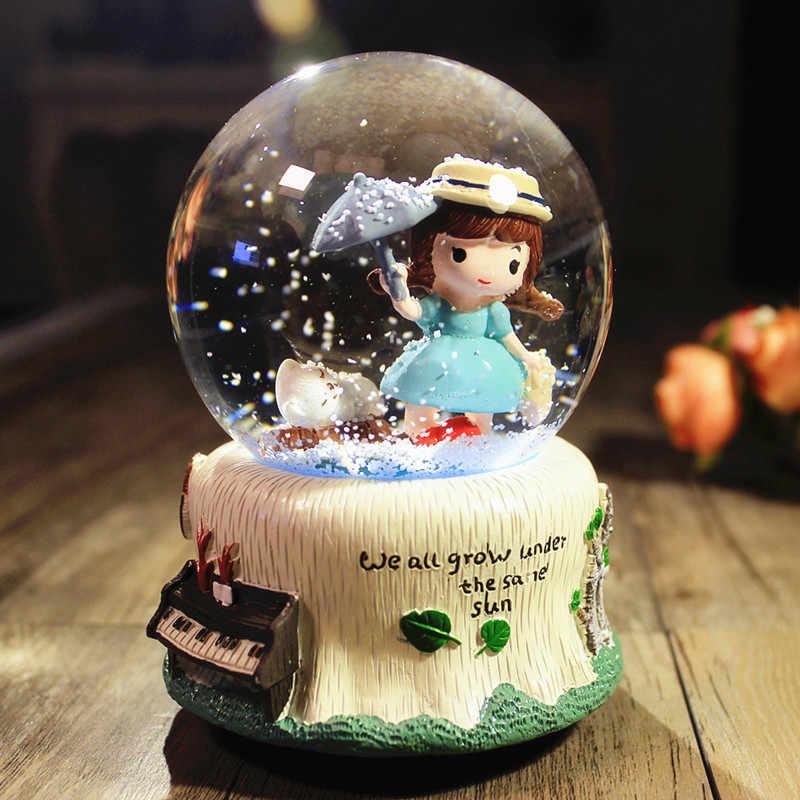 Pozytywka w kształcie kryształowej kuli świecąca lekka kreatywna lampka nocna LED świąteczny prezent urodzinowy ślubne lampy dekoracyjne oświetlenie wewnętrzne