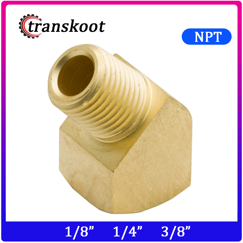 3350 SAE 130339 Metal Brass Fitting, 1/8 1/4 3/8 1/2 3/4 NPT Female And Male Pipe Thread 45 Degree Barstock Street Elbow