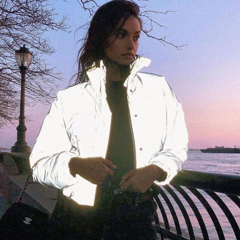 Winter Fashion Reflective Short Warm Women Coat Jackets Short Jacket Top Gray Color New Ladies Parka Autumn Ladies Coat