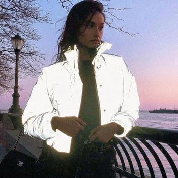 Winter Fashion Reflective Short Warm Women Coat Jackets Short Jacket Top Gray Color New Ladies Parka Autumn Ladies Coat ansi sea 107 hi vis safety reflective winter parka men jacket workwear rain jacket orange rain coat with reflective stripes
