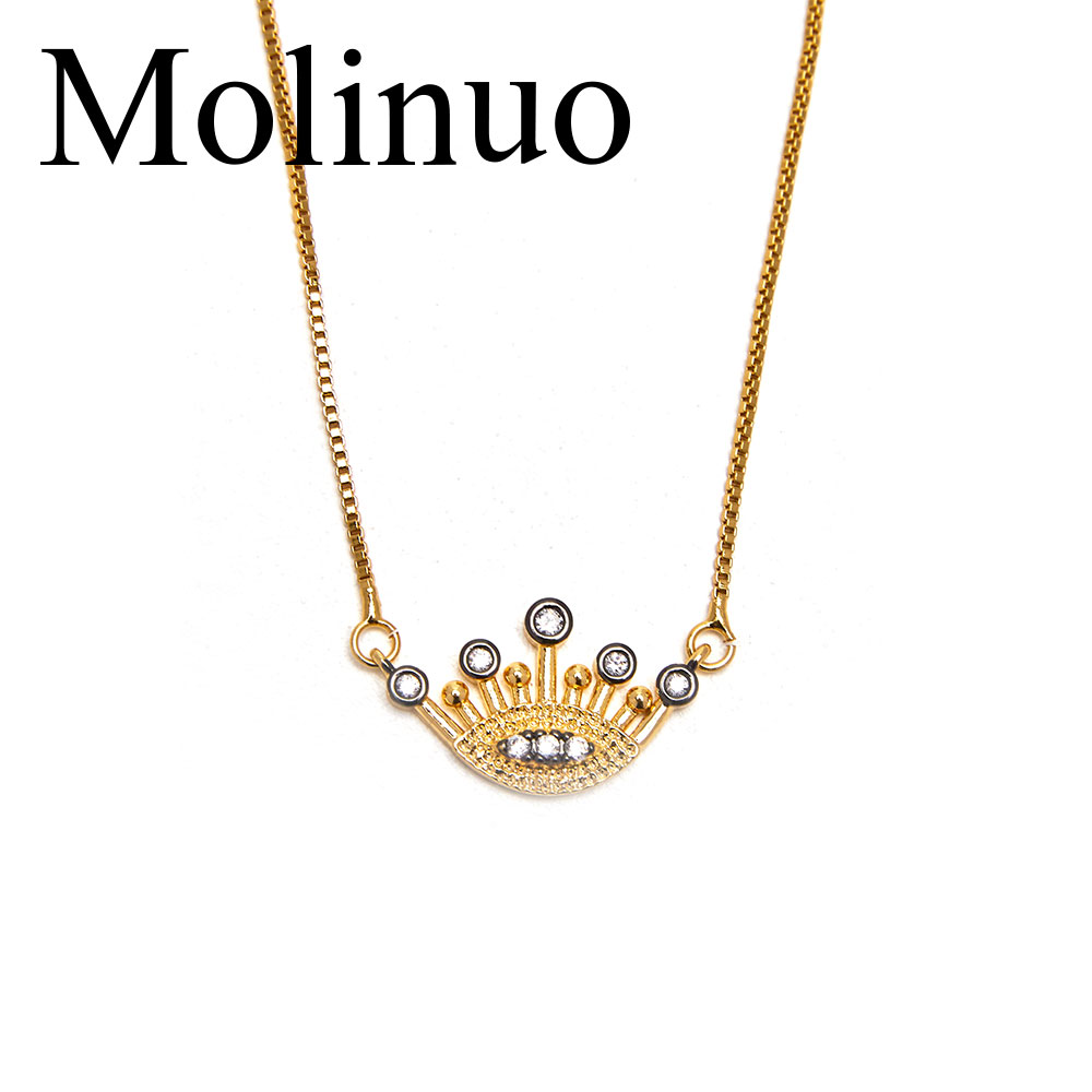 Molinuo 2019 new simple charm micro carving cz lucky evil eyes and black eyelashes fashion jewelry female pendant necklace in Pendant Necklaces from Jewelry Accessories