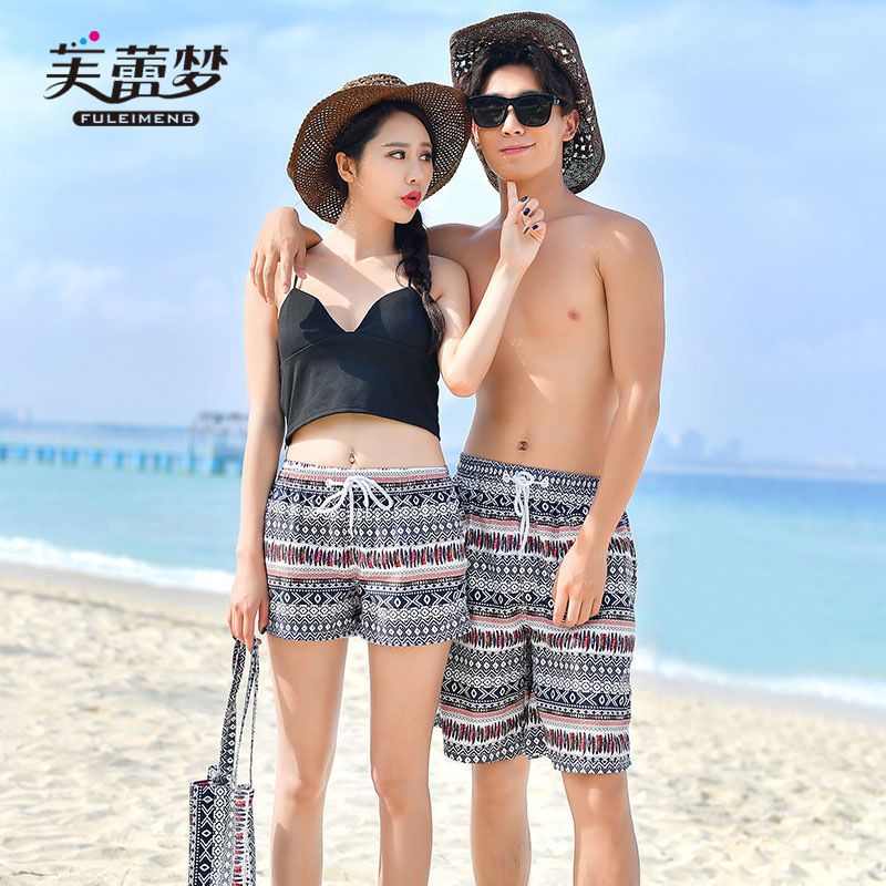 Bali Seaside Holiday Couples Beach Shorts Men And Women Couple Clothes Vest T-shirt Set Quick-Dry Shorts