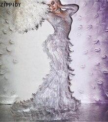 Белое платье в пол с перьями и стразами; Платье русалки с большим хвостом; Костюм для выпускного бала; Платье для дня рождения