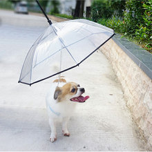 New Transparent Pet Umbrella with Dog Leads Chains PE Rain Walking Tow Rope Dogs Lead Small Cat Dry Raincoat Supplies