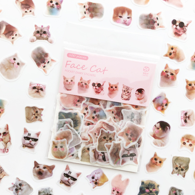 100pcs/set Cute Cat Animals Stickers Scrapbooking For Children Japanese Diary Sticker Bullet Journal Stationery Office Supplies
