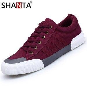 Image 1 - SHANTA 2020 Men Canvas Shoes Fashion Solid Color Men Vulcanized Shoes Lace up White Casual Shoes Men Sneakers chaussure homme