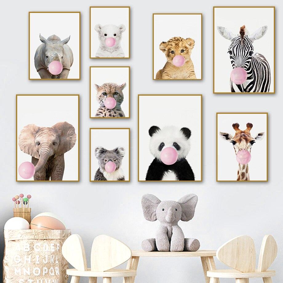 Duvar sanatı tuval yağlıboya aslan Koala Panda Zebra fil pembe kabarcık İskandinav posterler ve baskılar duvar resimleri çocuk odası dekor için