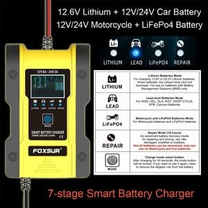 Image 2 - NEUE 12,6 V Lithium Auto Batterie Ladegerät 12V 24V 6A Puls Reparatur Smart Schnelle Ladegerät AGM GEL Blei säure LiFePO4 LiPo 7 bühne Ladegerät