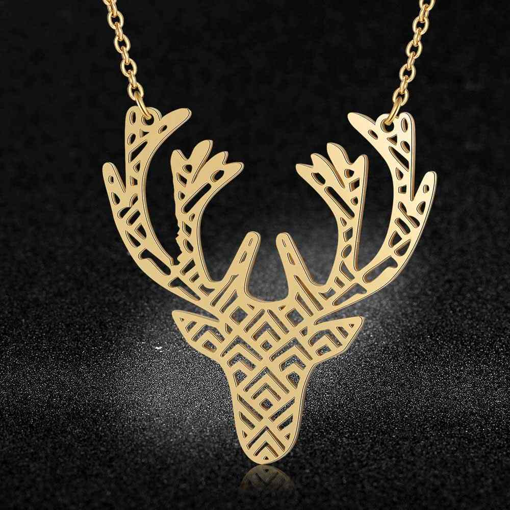 100% Real Stainless Steel 40cm Large Animal Moose Head Long Necklace Trend Jewelry Necklaces Special Gift Super Quality