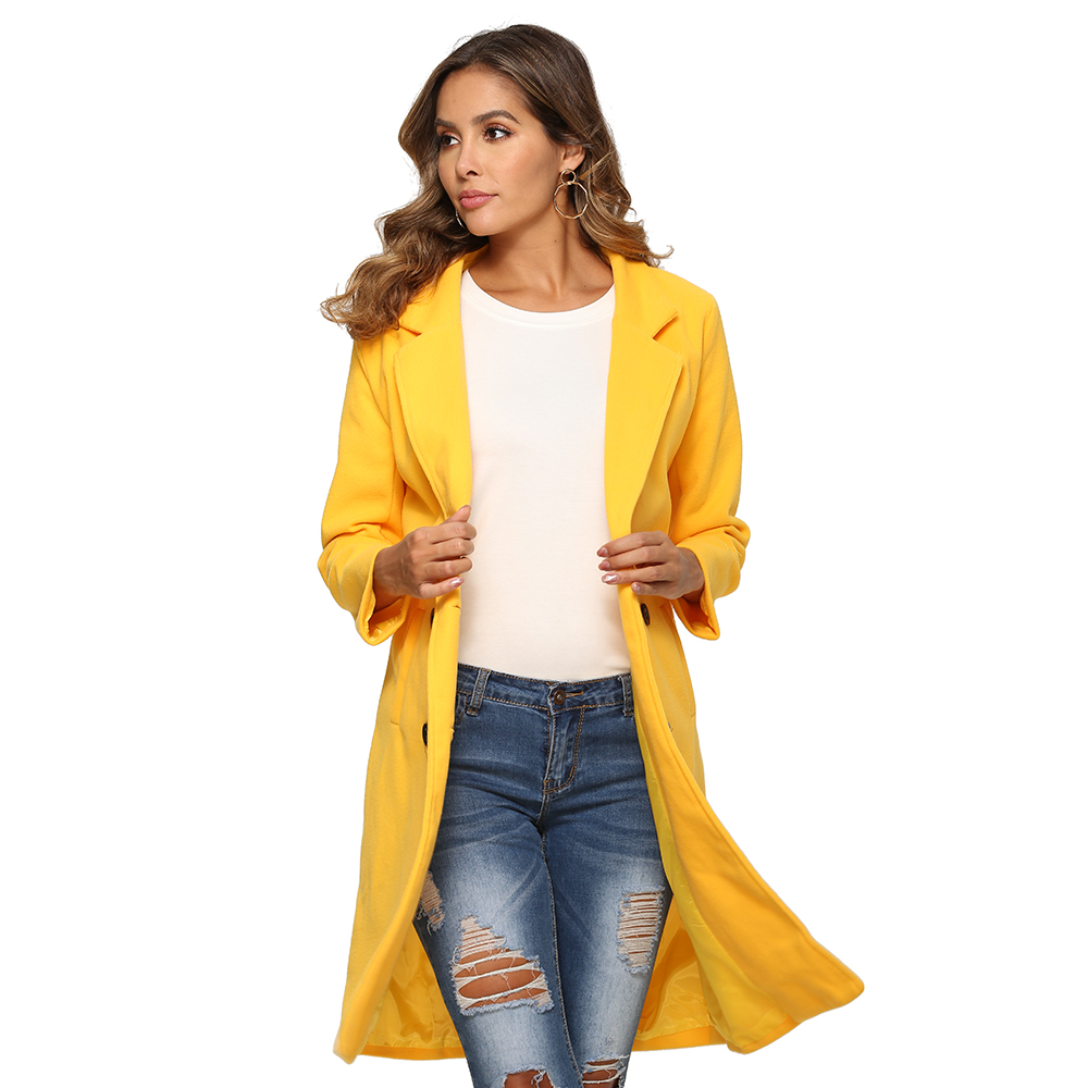 H70f92d39abe6490cb4399fd3e2722c9b9 2018 New Women Long Sleeve Turn-Down Collar Outwear Jacket Wool Blend Coat Casual Autumn Winter Elegant Overcoat Loose Plus Size