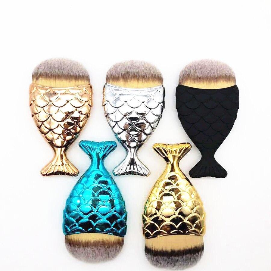 1 Pza cepillo de base de sirena brocha de maquillaje profesional PowderMaquia gema base Contorno de pescado brochas maquillaje
