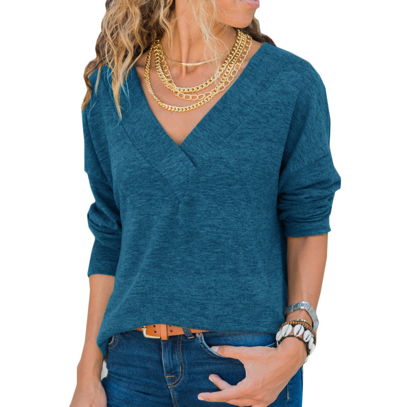 Autumn V Neck Sweater Knitted Fashion Women Sweaters 2019 Winter Casual Loose Long Sleeve Tops For Women Pullover Jumper