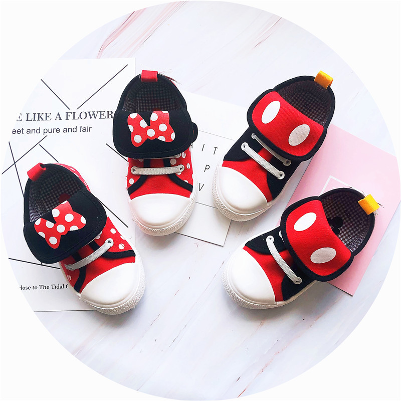 Disney Children's Cartoon Minnie Mickey Canvas Shoes Boys And Girls Baby Casual Sports Shoes Non-slip Soft Bottom