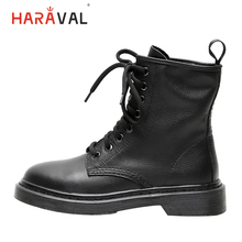 HARAVAL Fashion Classic Ankle Boots Winter Warm Women Round Toe Low Heel Lace-up Shoes Black Genuine Leather Martin Boots B213 us6 10 crocodile grain round toe boots men full grain leather lace up office shoes retro winter man formal dress ankle boots