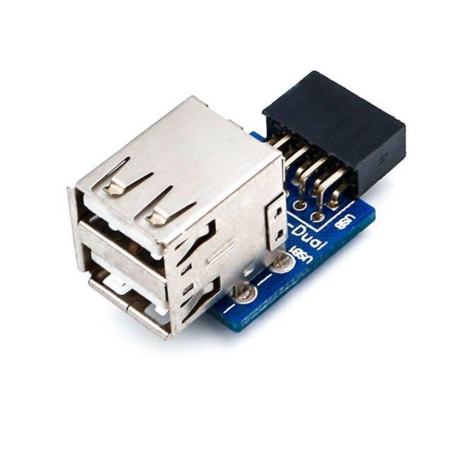 USB HUB 9Pin PC Host Internal Motherboard USB 2.0 Hub 9Pin to 2 Port USB A Female Splitter Converter PCB Board Extender Card NEW 4