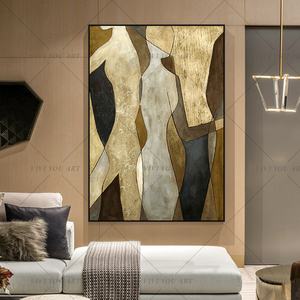 Hand Painted Lovers Oil Paintings on Canvas Modern Abstract Lover Landscape Wall Picture For Living Room Home Decor(China)