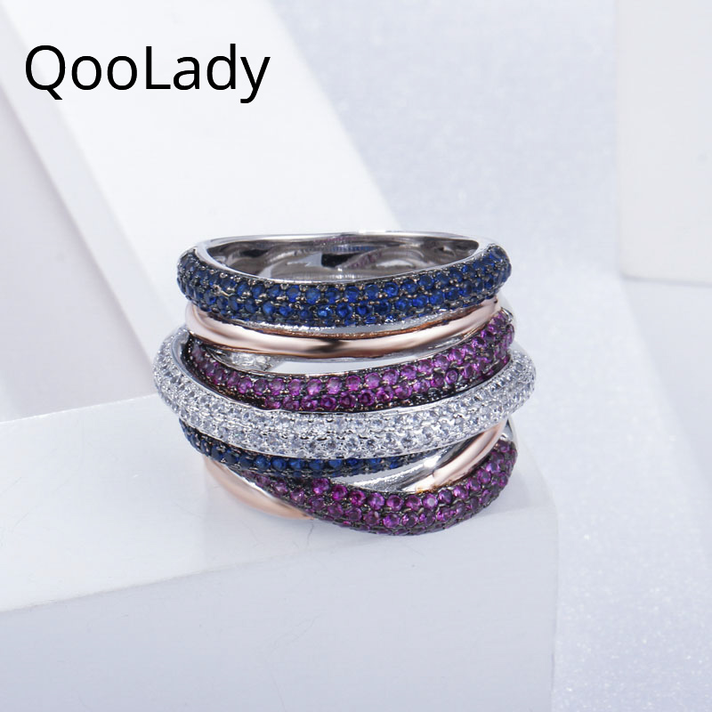 QooLady Luxury 3 Tone Gold Color Micro Pave Blue Red Cubic Zirconia Big Finger Ring Party Jewelry Accessories for Women F008