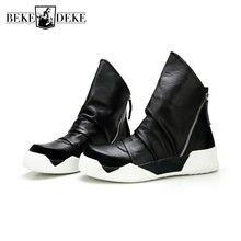 Men Zip Ankle Boots British Genuine Leather High-Top Shoes L