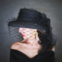 Straw Hat Women Black Fedoras New Winter Outdoors Bow Tie Hat Adult Female Casual Mesh Streamers Cap Ladies Evening Party Hats