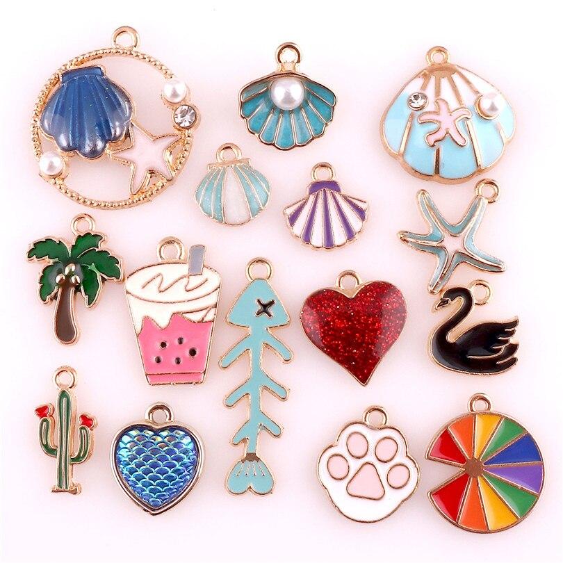 15PCS Pretty Hollow Moon Dangle Charms Beads Necklace Bracelet Pendants