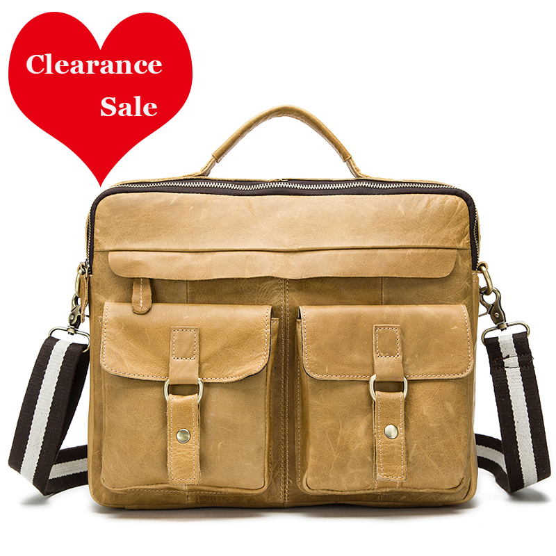 WESTAL Clearance Sale Men's Briefcase Leather Laptop Bag 14 Office Bags For Men Men's Genuine Leather Bags For Document Totes