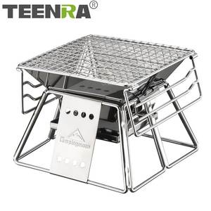 Bbq-Grill Picnic-Tool Folding Stainless-Steel Portable Outdoor Camping TEENRA Non-Stick