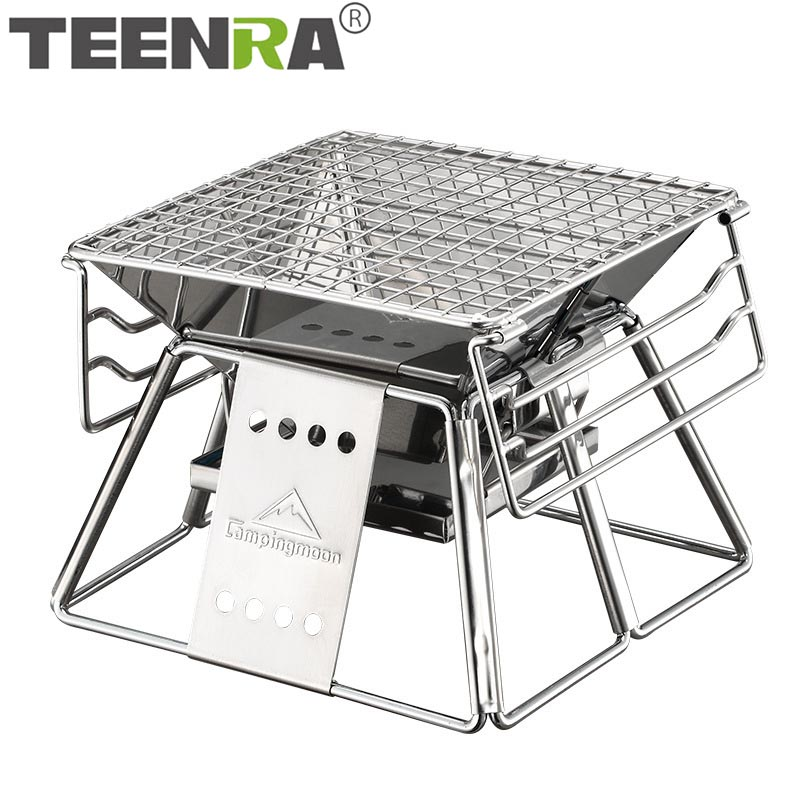 TEENRA Portable Stainless Steel BBQ Grill Non-stick Surface Folding Barbecue Grill Outdoor Camping Picnic Tool