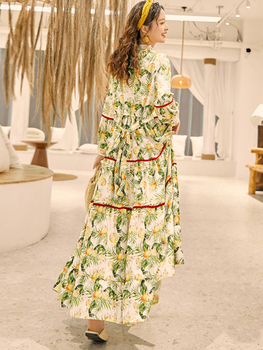 Thailand National Style Vintage Holiday Trip Shoot Embroidered Long Dress Bohemian Beach Printed Loose and Plus-sized Dress 3
