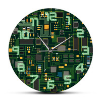 IT Circuit Board Clock Engineer Computer Electronic Chip Circuit Board Room Decor Wall Clock Unique Gift Office Decor|Wall Clocks| |  -