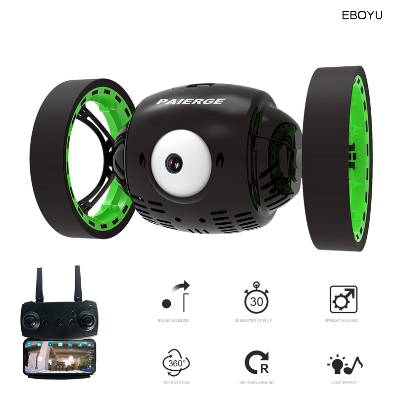 EBOYU PEG700 2.4G Big Eye WiFi FPV 720P HD Camera RC Jumping Car Jump High Stunt Car Music LED Headlights RC Bounce Car Gift Toy
