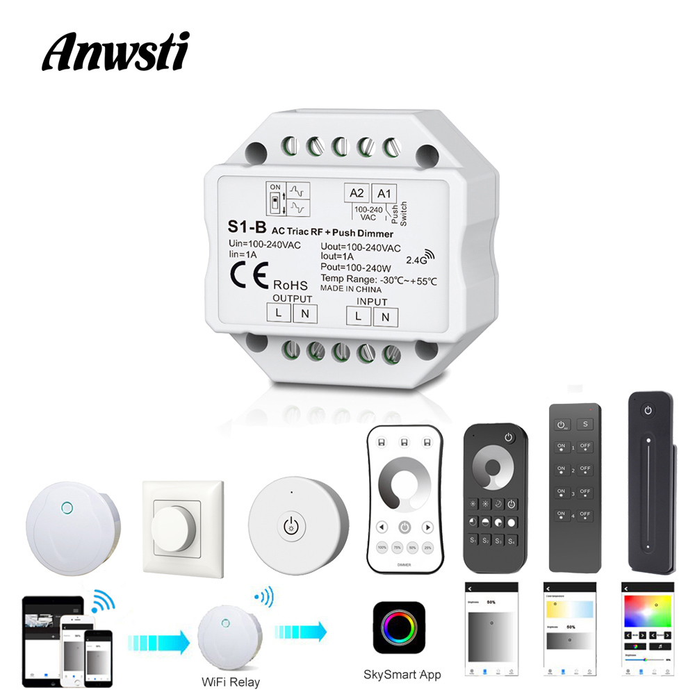 Wifi LED Dimmer 220V RF 2.4G Wireless Remote Smart Wifi Control 110V 230V 220V AC Triac Dimmer Switch For LED Light Bulb Lamps
