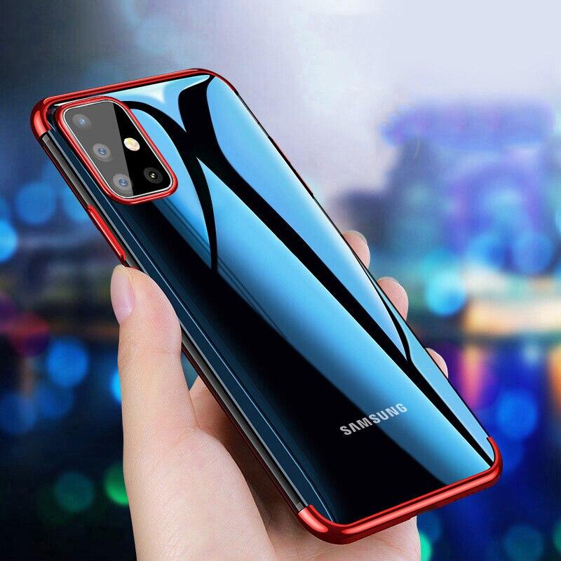 Transparente Carcasa TPU Silicona Case Cover MUTOUREN Funda para Samsung Galaxy A51 Vidrio Templado Ultra Delgado Anti-ara/ñazos Cubierta Bumper Mariposas Azules con 2* Gratis 4G