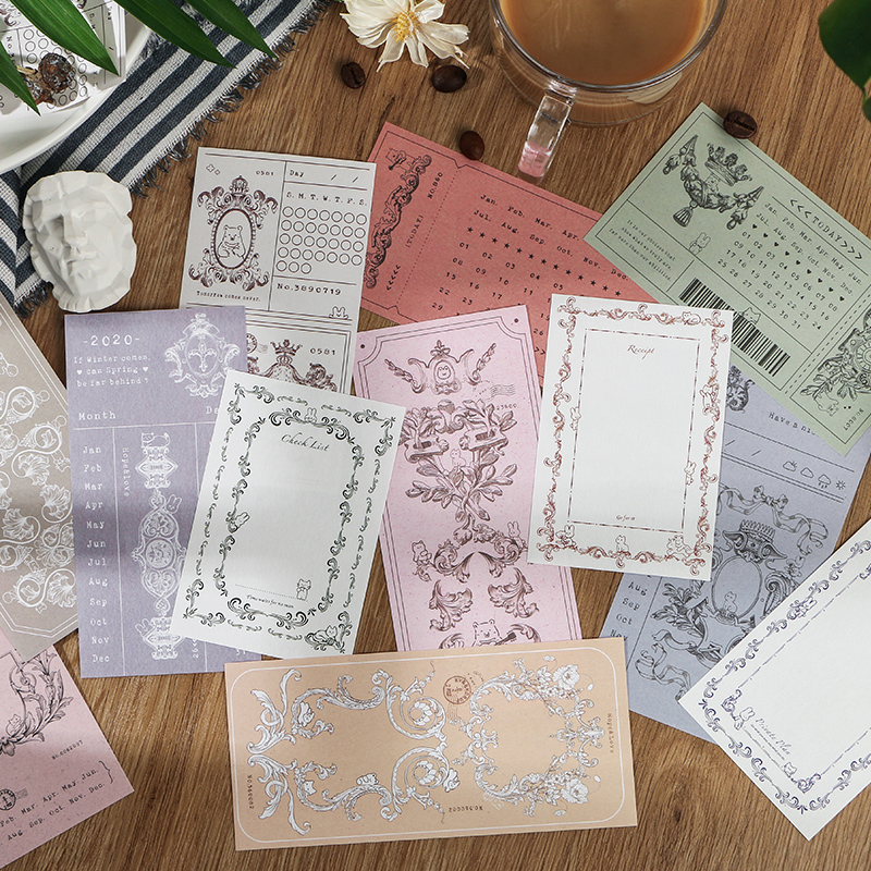 Journamm 30pcs Lace Frame VIntag Set For Diary Creative Folded Planner Notepad School Supplies Self-Stick Note Writing Memo Pads