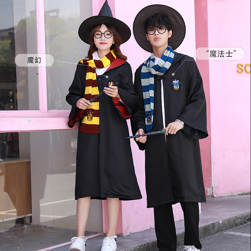 Slytherin Cosplay Costumes Potter Outfits Magic Robe Cape Suit Hogwarts Uniform Cloak For Kids Adults Clothes
