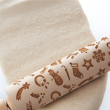 Baking Cookies Cake Dough Roller Christmas Wooden Rolling Pin Engraved Pattern NEW