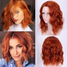 Парик JINKAILI короткий синтетический с челкой, термостойкий для женщин, с короткими волнистыми искусственными волосами, красный, розовый, фиол...