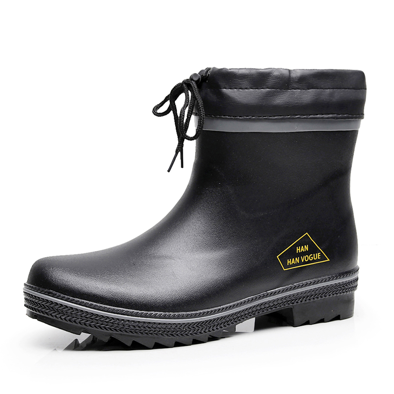 Fashion Casual Short Rain Waterproof Rain Shoes For Men Rubber Rain Snow Boots Men Non-Slip Ankle Rain Boots Plus Size 46 F63