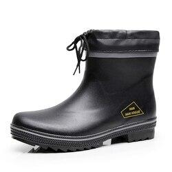 Moda casual curta chuva à prova dfor água sapatos de chuva para homem borracha chuva botas de neve homens antiderrapante tornozelo botas de chuva plus size 46 f63