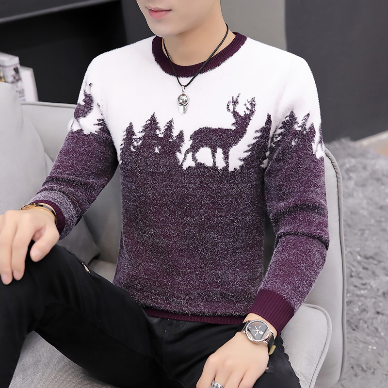2019 Autumn Spring New Sweater Men Knitting Warm Wool 3d Deer Printed O-neck Pullovers Korean Fashion Slim Fit Homme Sweaters