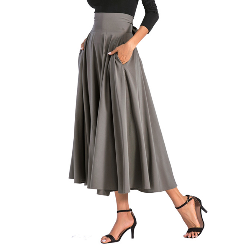 2020 New Fashion  Women Long Skirt Casual Spring  Summer Skirt womens Elegant Solid Bow-knot A-line Maxi Skirt Women Cothes (10)