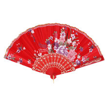Süße Stil Blumen Hand Fan Folding Fan Tanzen Party Fan Rot(China)