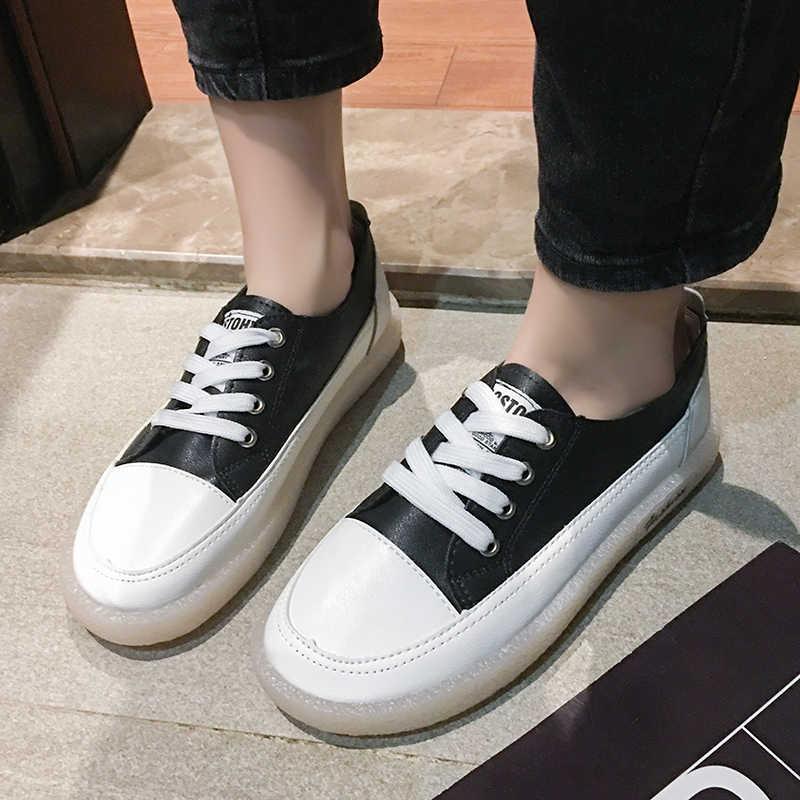 2020 популярные женские кроссовки для скейтборда, спортивная женская обувь на шнуровке, Женская прогулочная обувь из искусственной кожи, роскошные брендовые классические кроссовки черного цвета