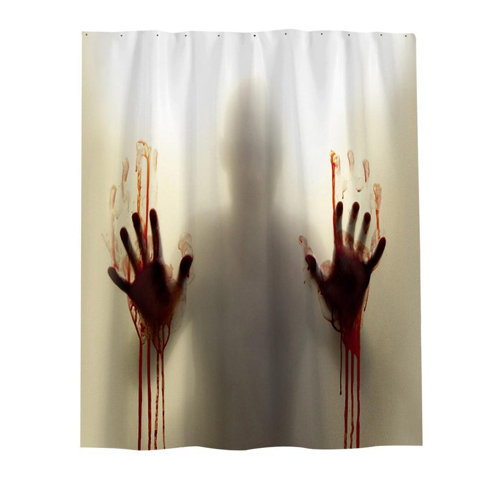 Halloween Horror Psycho Bloody Hands Bathroom Bath Shower Curtain Decoration Hot