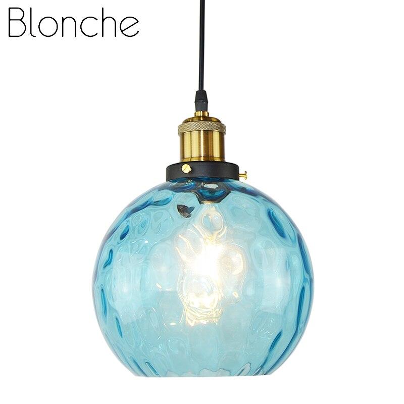 Blonche retro luzes pingente de vidro pendurado luzes e27 lighing para sala estar quarto loft decoração da sua casa do vintage luminária redonda|Luzes de pendentes| |  - title=