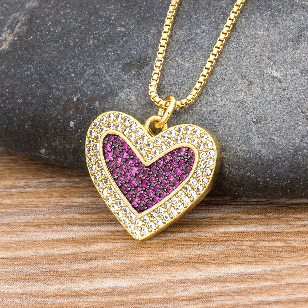 Charm Heart Pendant Necklaces For Women Fashion Copper Cubic Zirconia Jewelry Gold Color Rhinestone Chain Necklace Gifts