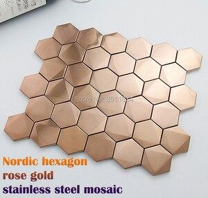 1 caja 13 Uds Nordic 3D hexágono de acero inoxidable mosaico de rosas metal dorado Pared de mosaico de ladrillo para cocina/Fondo de TV/sala de estar