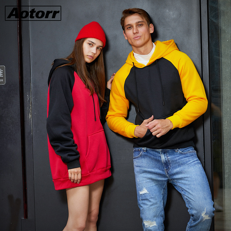 Youth Hoodie Sweatshirts Pullover Couple Streetwear Autumn Unisex Fleece Casual Thick