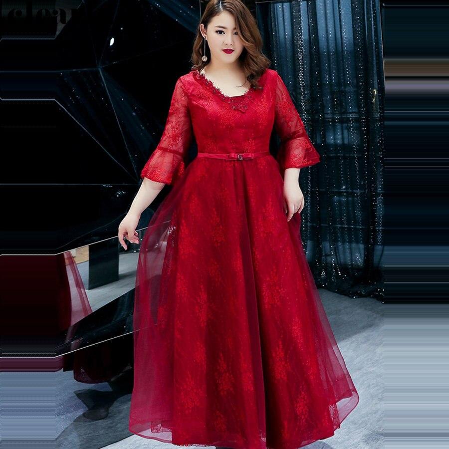 Floor Length Evening Dress Burgundy Elegant Robe De Soiree 2019 Plus Size New Women Party Dresses Bell Sleeve Formal Gowns T114