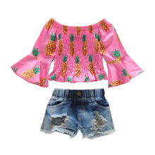 1-6Y Summer Clothes Set Back to School Kids Short Sleeve Pineapple Pink Shirt + Ripped Jeans Shorts 2pcs Toddler Girl Clothing